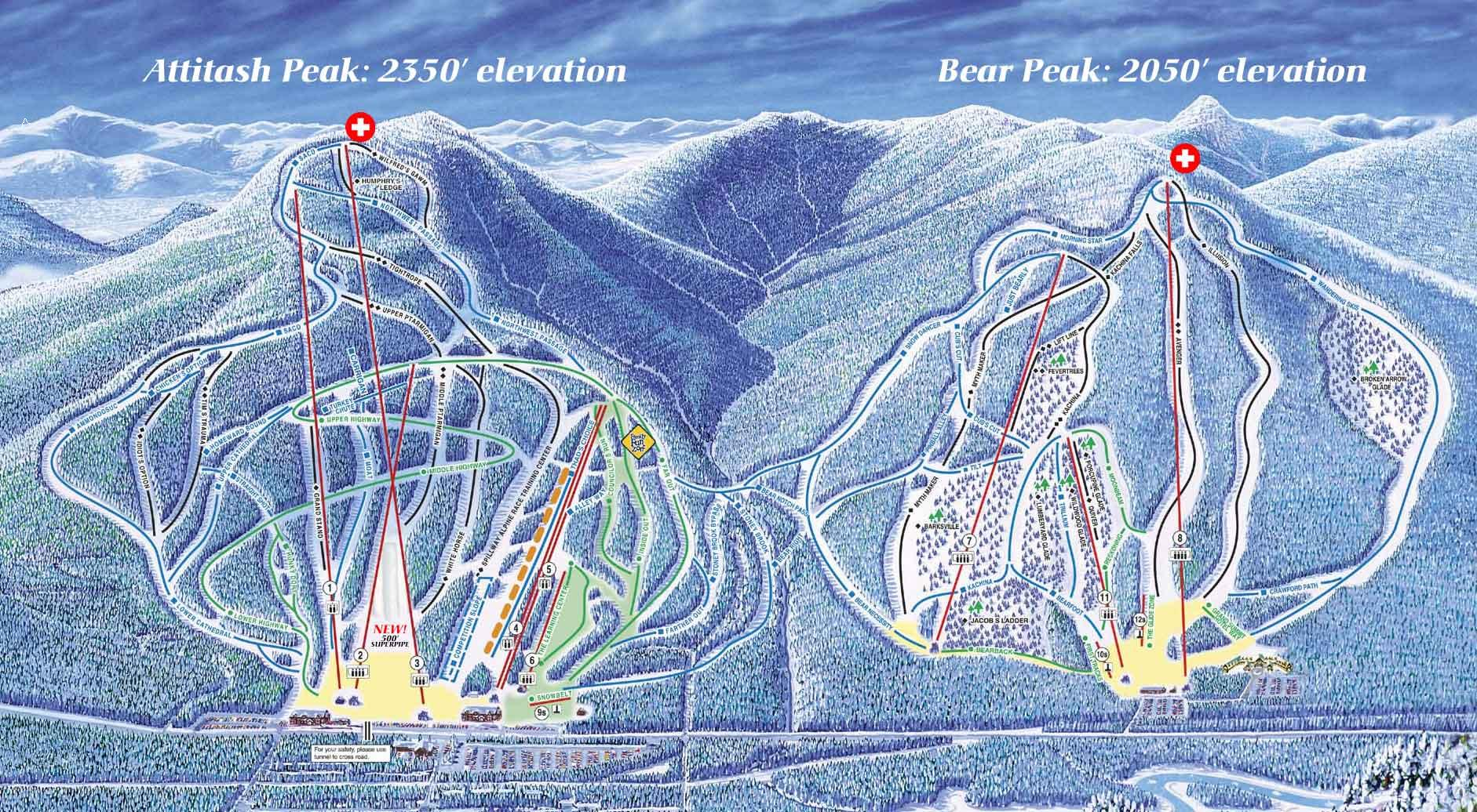 Attitash Bear Peak Piste / Trail Map