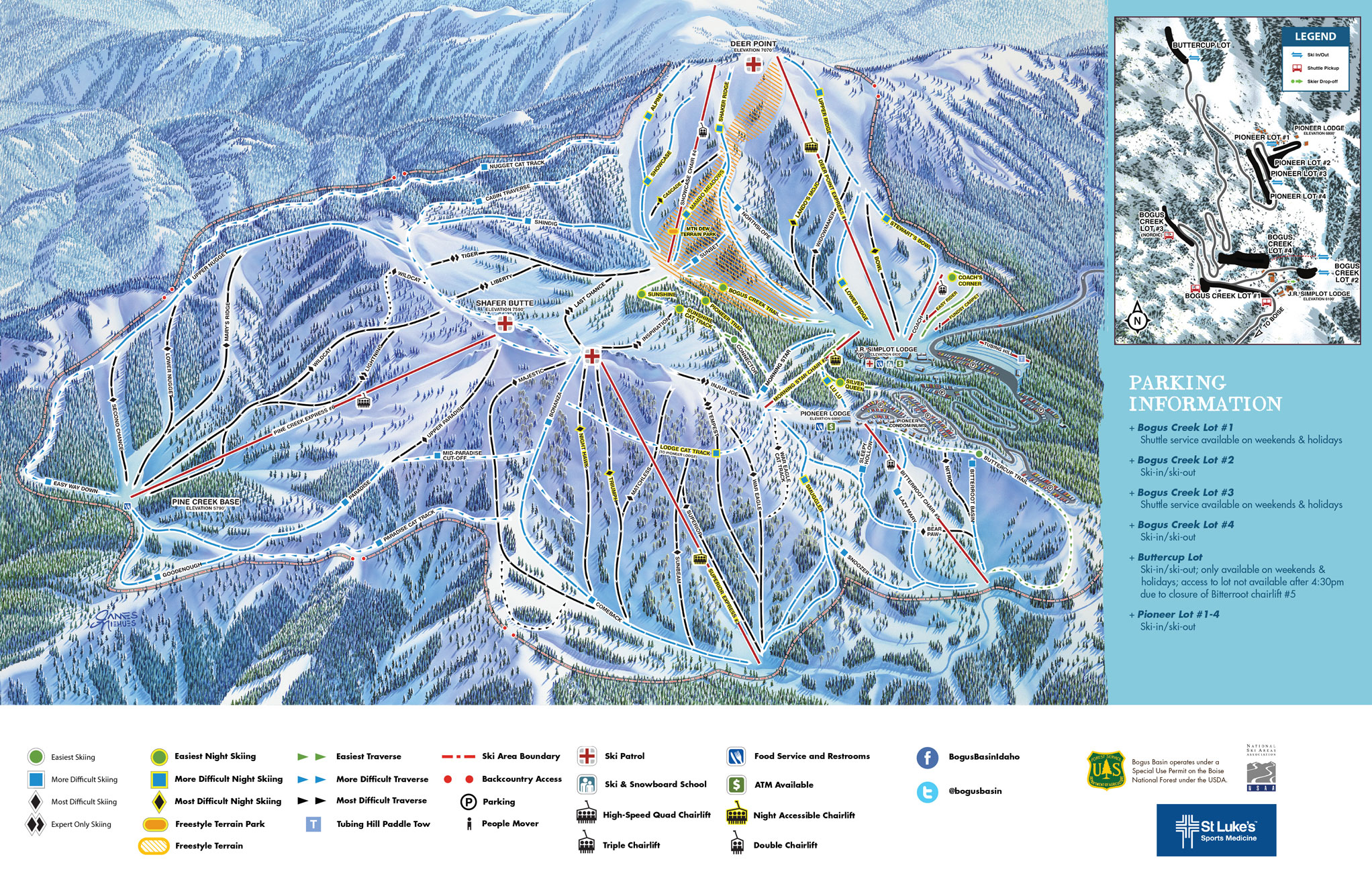 Bogus Basin Piste / Trail Map
