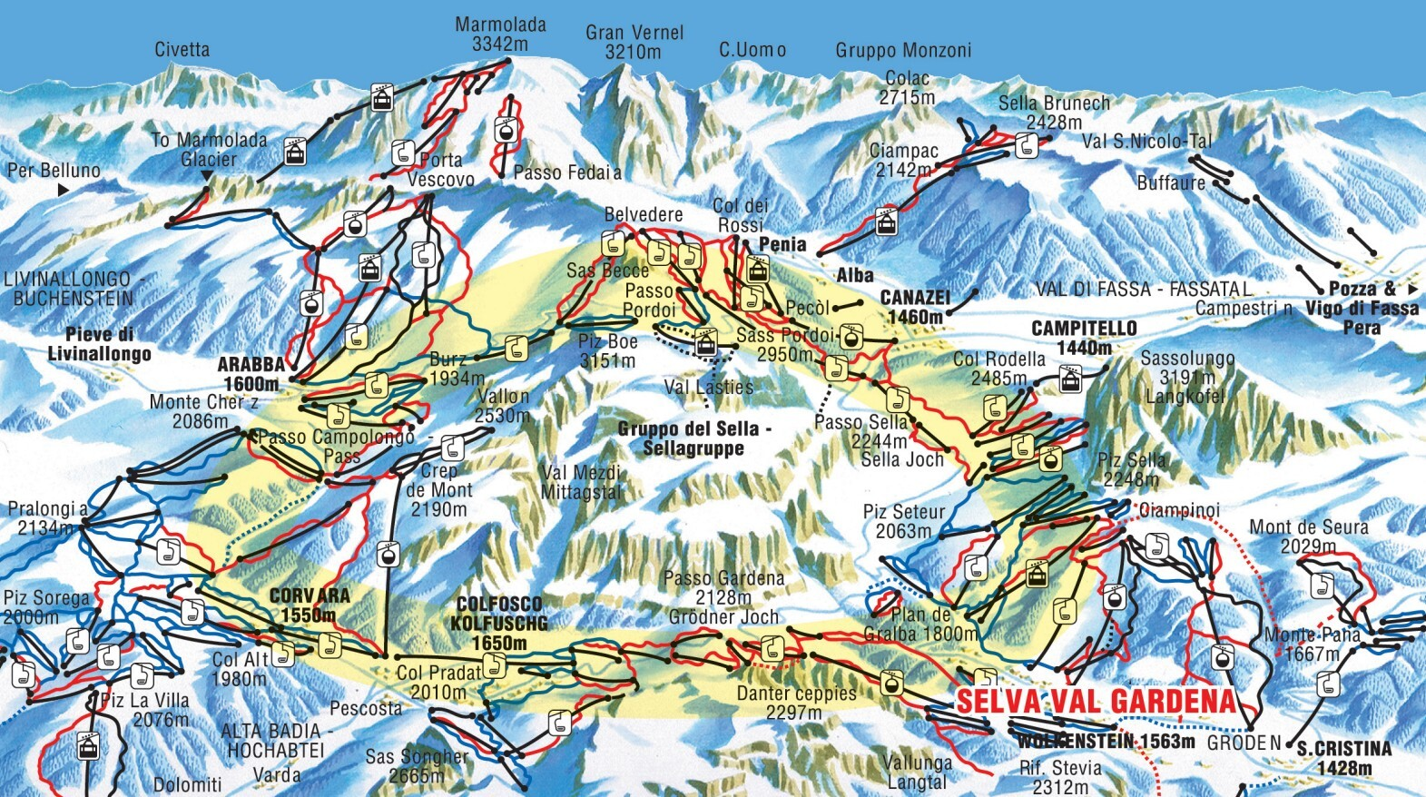 Campitello Piste / Trail Map