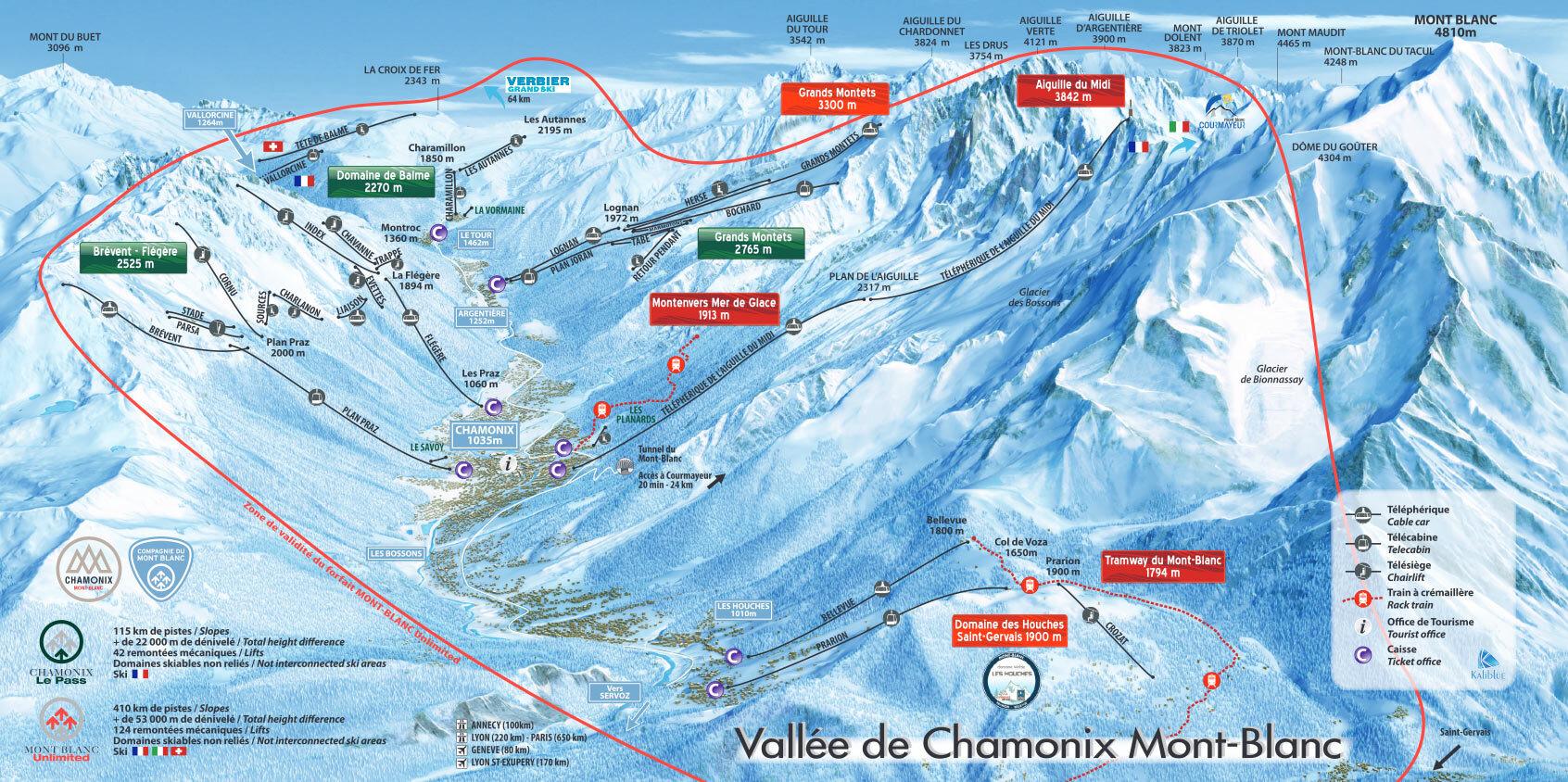 карты трасс в Chamonix