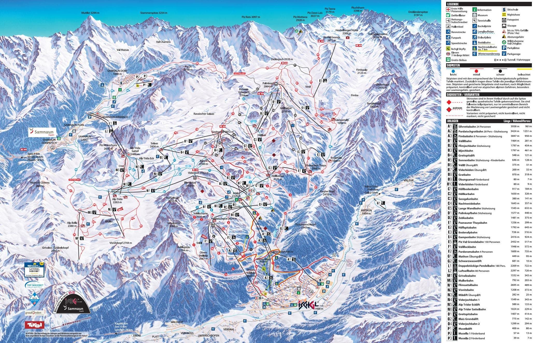 карты трасс в Ischgl