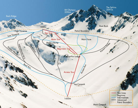 Mount Olympus Piste / Trail Map