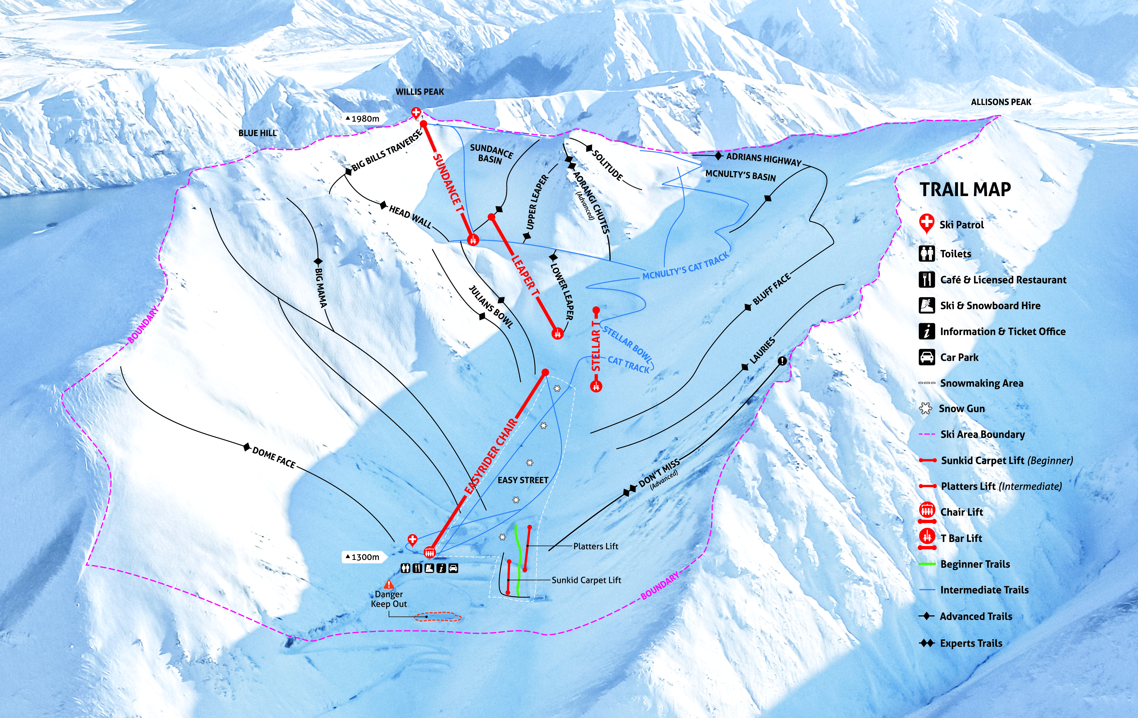 Porters Piste / Trail Map