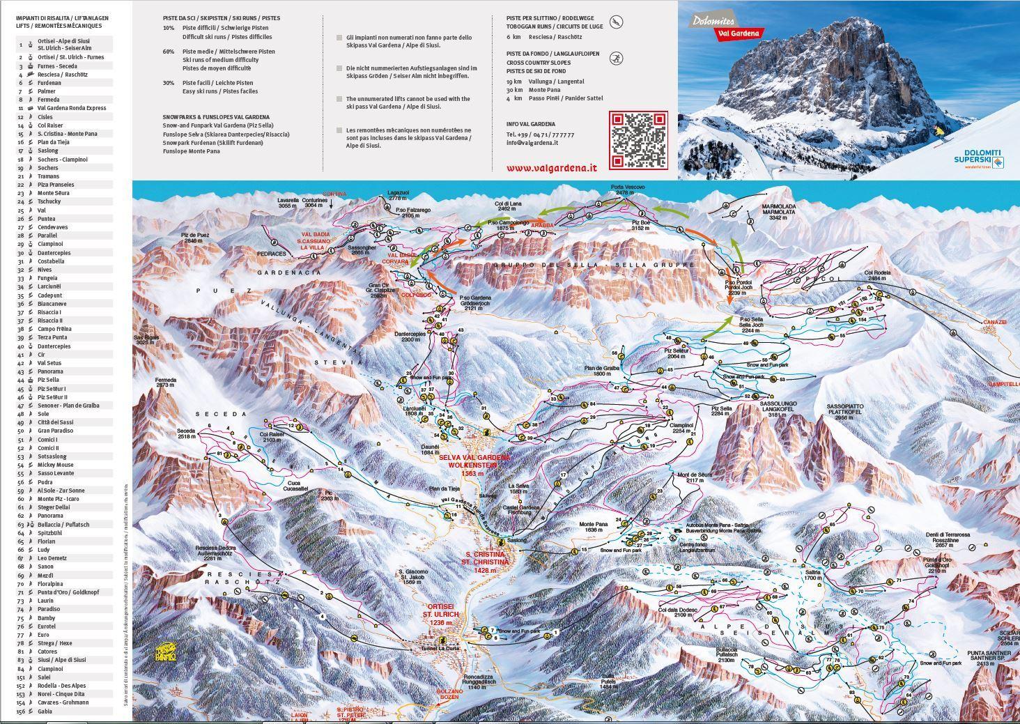 карты трасс в Val Gardena