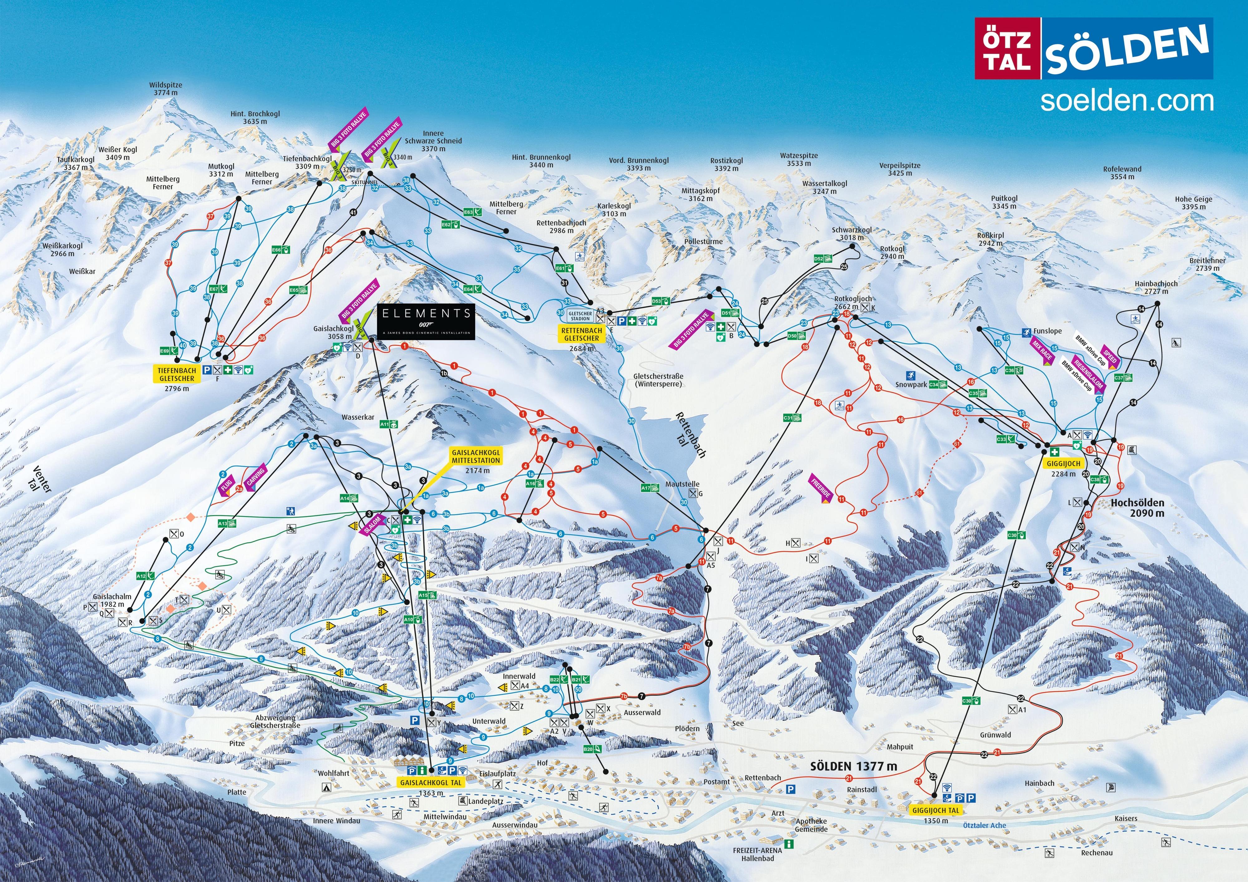 карты трасс в Sölden