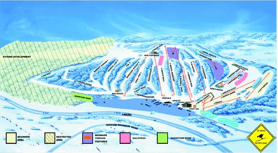 Cascade Mountain Piste / Trail Map