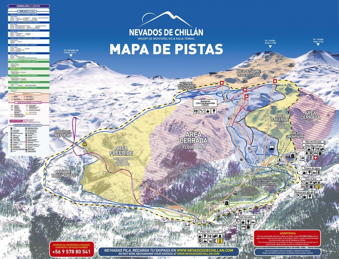 Nevados de Chillan Piste / Trail Map