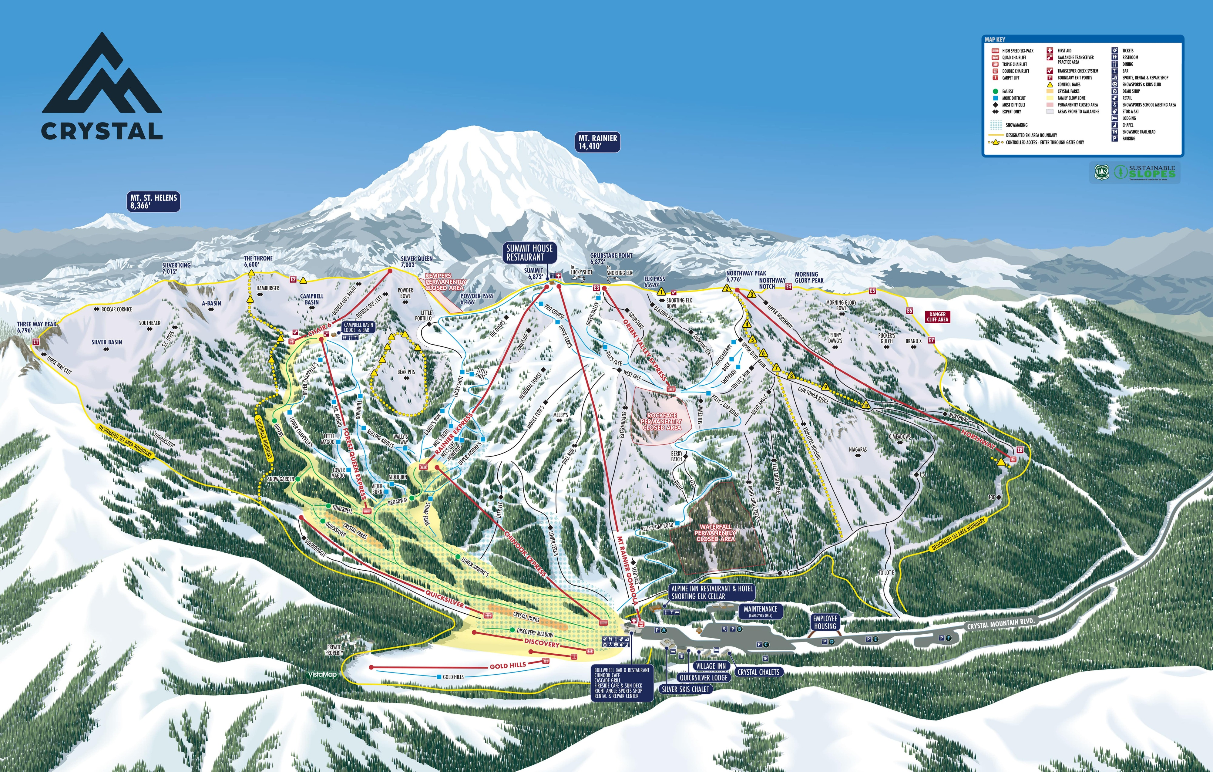 Crystal Mountain Piste / Trail Map