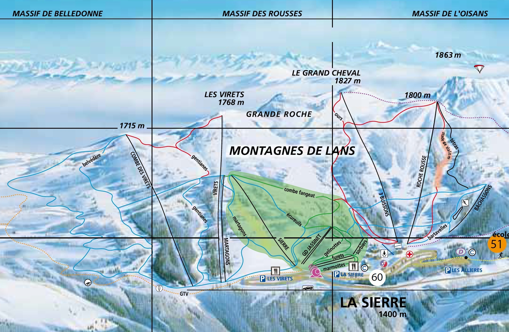 Lans en Vercors Piste / Trail Map