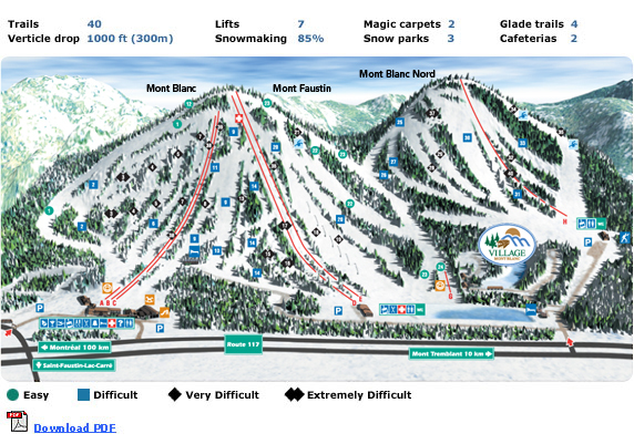 Ski Mont Blanc Quebec Piste / Trail Map
