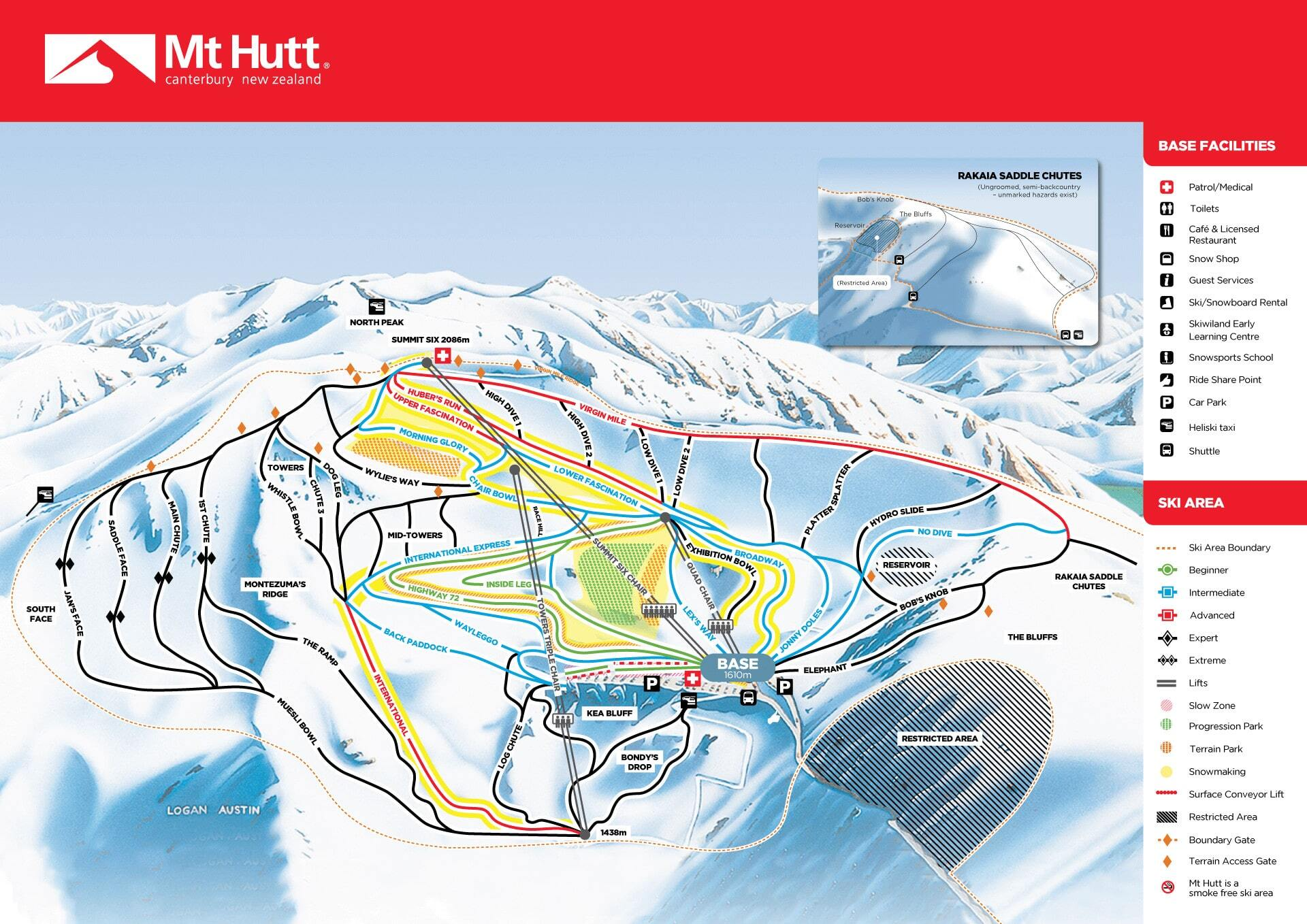 Mt Hutt Piste / Trail Map