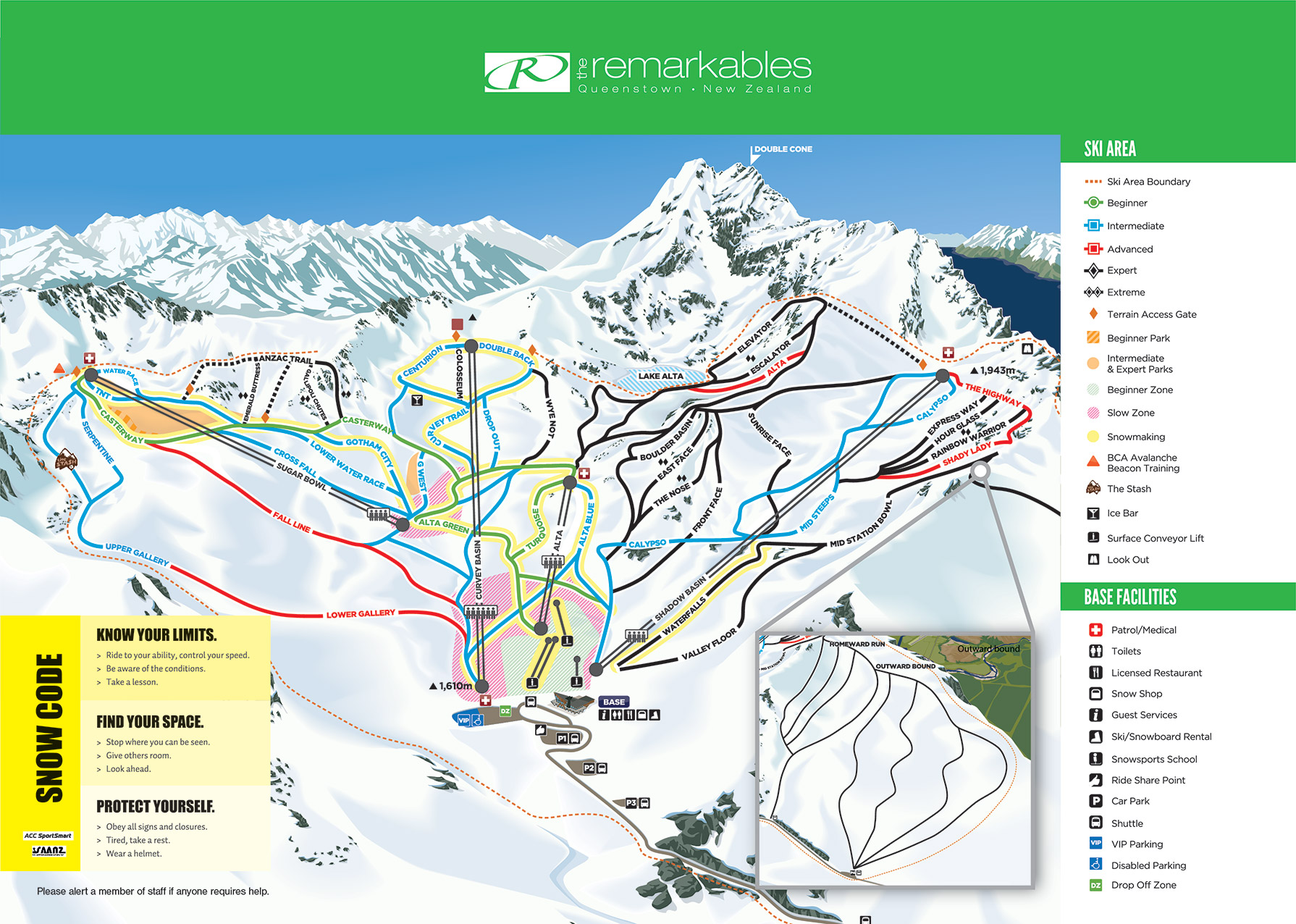 Remarkables Piste / Trail Map