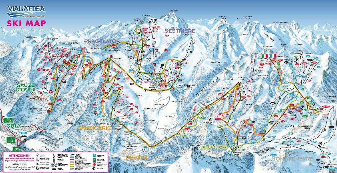 Sauze d'Oulx (Via Lattea) Piste / Trail Map