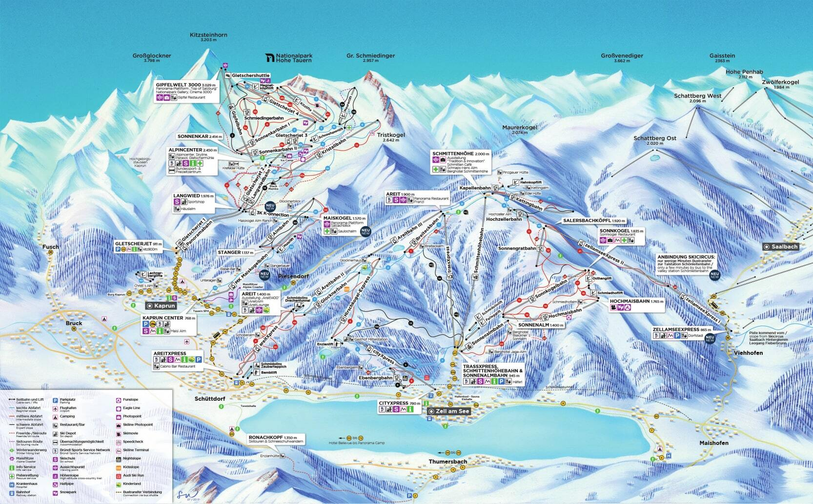 Zell am See Piste / Trail Map